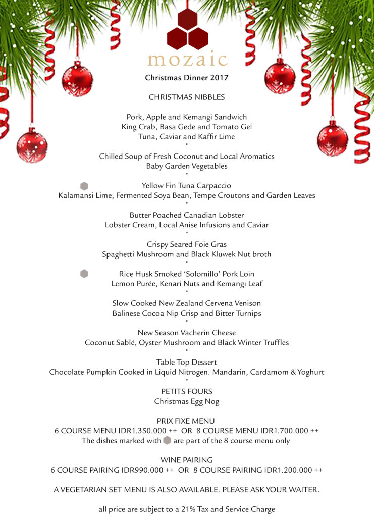 Christmas Menu.Christmas Dinner December 2017 Mozaic