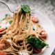 Spaghetti with vegetables for fine dining in Bali